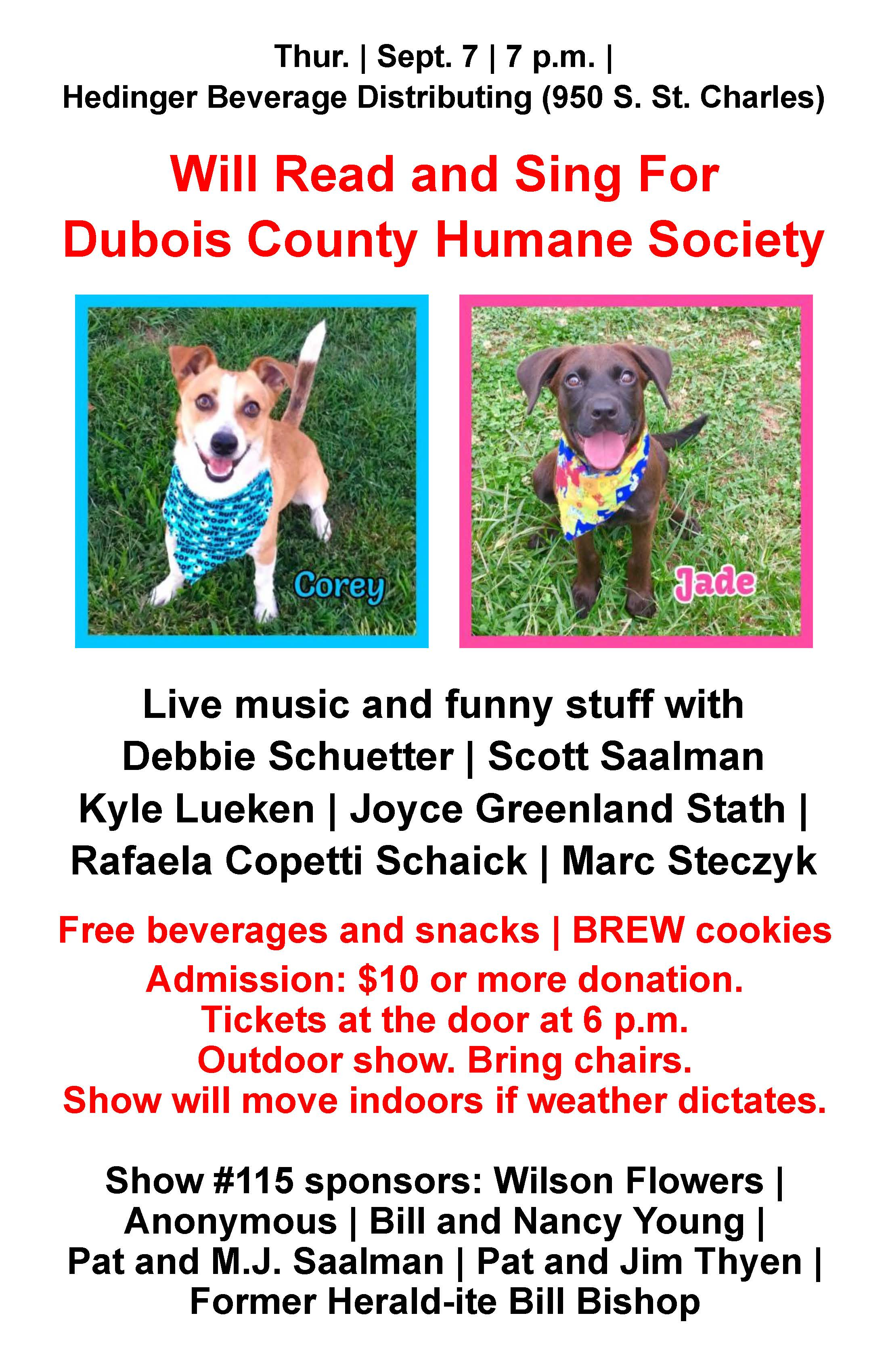 Will Read and Sing for Dubois County Humane Society Sept 7
